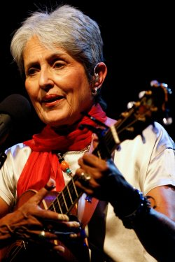 U.S. folk singer Joan Baez performs on stage at the Stravinski hall during the 42nd Montreux Jazz Festival in Montreux, Switzerland, late Sunday, July 6, 2008. The Montreux Jazz Festival runs from July 4 to July 19. (AP Photo/Keystone, Jean-Christophe Bott)